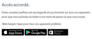 Application mobile lastpass