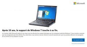 Après 10 ans, le support de windows 7 touche à sa fin le 14 janvier 2020