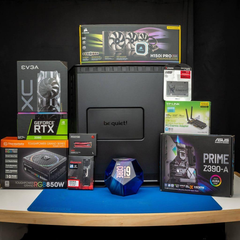 Image d'un ordinateur de gaming sur mesure et de ses différentes composantes et pièces